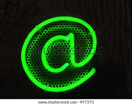 Green Email Sign - stock photo