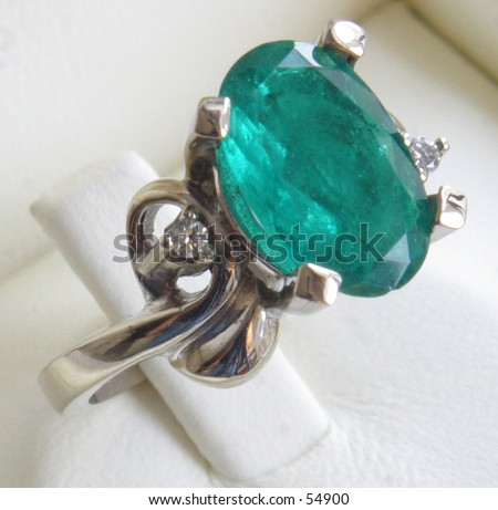 green emerald ring - stock photo