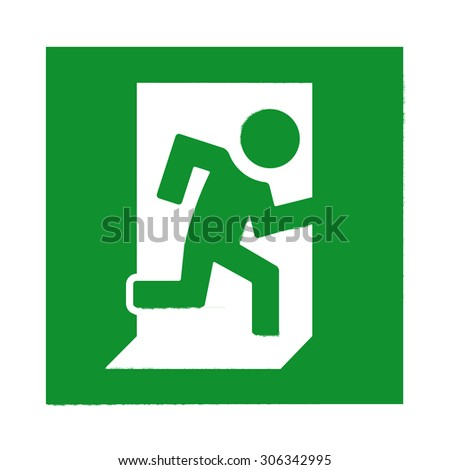 Green Emergency Exit Sign with running human figure. Direction sign - stock photo