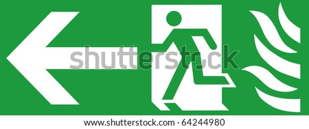 Green Emergency fire exit with arrow direction to left side. - stock photo