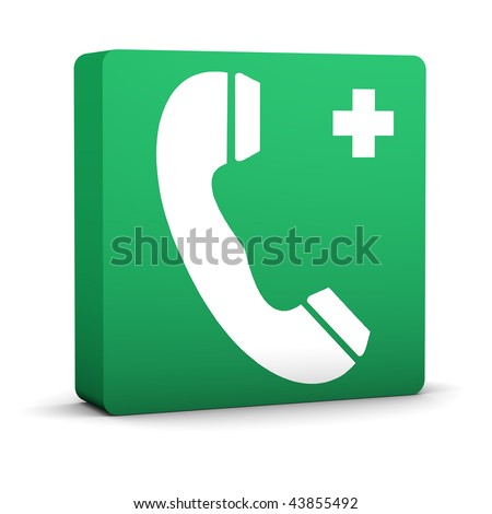 Green emergency telephone sign on a white background. Part of a series. - stock photo
