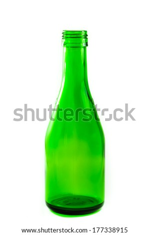 Green empty bottle