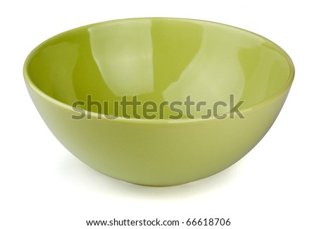 Green empty bowl isolated on white - stock photo