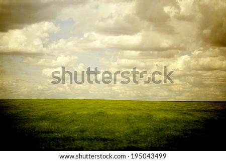 green empty field - stock photo