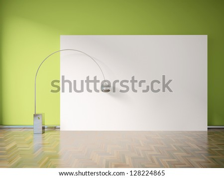 green empty interior with a lamp - stock photo