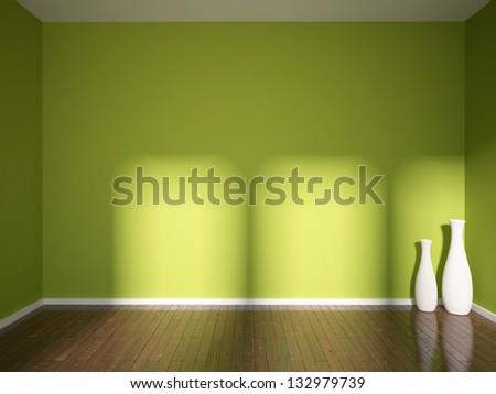 green empty interior with vases - stock photo
