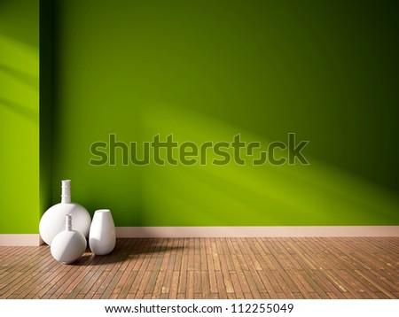 green empty interior with white vases - stock photo
