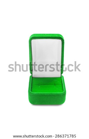 Green empty jewel box isolated over white
