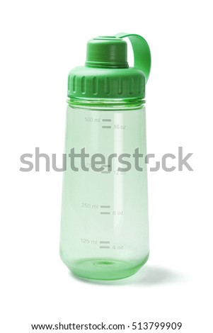 Green Empty Plastic Water Bottle on White Background