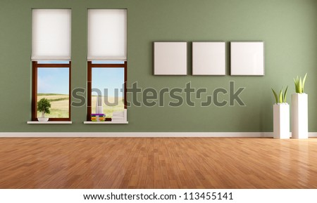 Green empty room with two wooden windows - rendering-the image on background is a my photo - stock photo