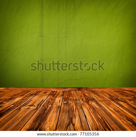 green empty room with wooden floor - stock photo