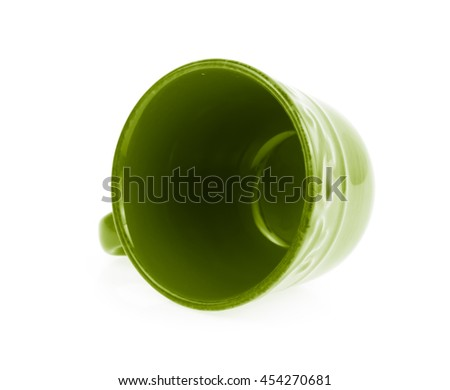 Green Empty tea cup isolated on white background