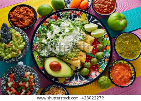 Green enchiladas Mexican food with guacamole and sauces on colorful table - stock photo