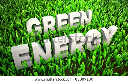 Green Energy and Eco Friendly Concept on Grass - stock photo