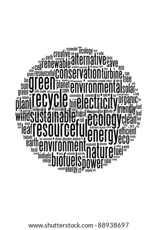 Green energy and recycle illustration concept info-text graphics and arrangement word clouds concept - stock photo