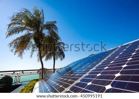 Green energy and sustainable development for solar energy power generator - stock photo