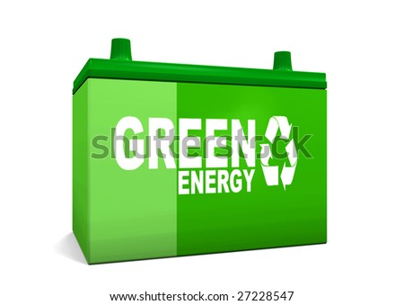 Green energy car battery - stock photo