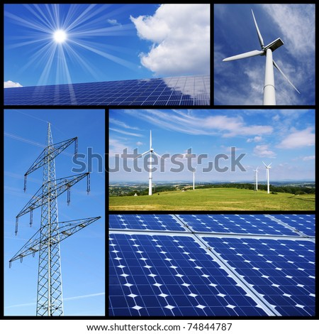 Green energy collage: Solar panels, wind power and pylon. - stock photo