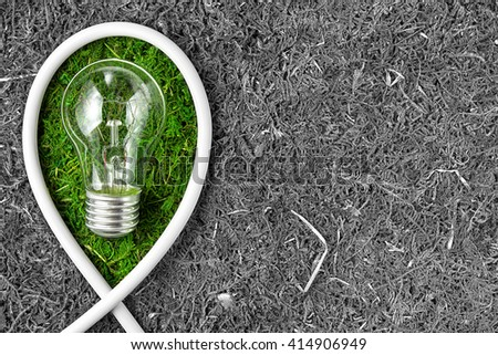 Green energy. Concept ecology. Green light bulb  with copy space - stock photo