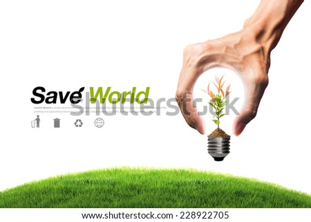Green energy concept - green tree growing in bulb and grass field with bulb shaped hand, clipping path - stock photo