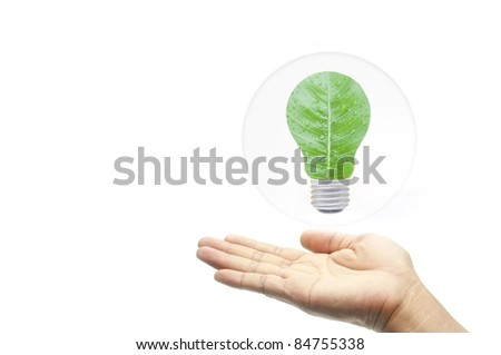 green energy concept hand with leaf in bubbles as white isolate background - stock photo