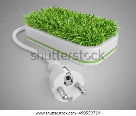Green energy concept with plug and pot with grass. 3d illustration on a grey background.