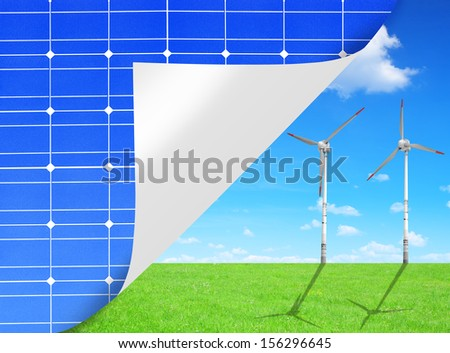 green energy concepts from solar panels and wind turbines  - stock photo