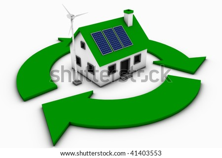 Green energy conceptual rendering of a house with a wind turbine and solar panels with a recycle sign. - stock photo