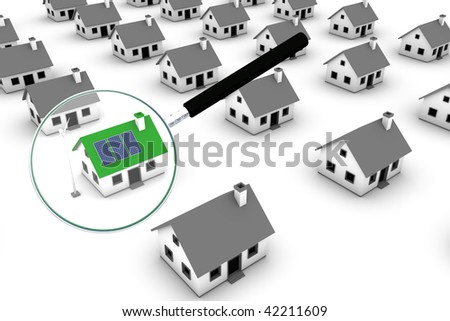 Green energy conceptual rendering of a magnifying glass identifying a house with a wind turbine and solar panels in a residential district of non-descriptive houses. - stock photo