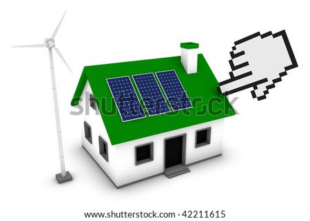 Green energy conceptual rendering of a pixelated hand pointing to a house with a wind turbine and solar panels.