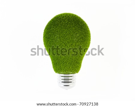 Green energy. 3D rendering of a light bulb with a grass texture