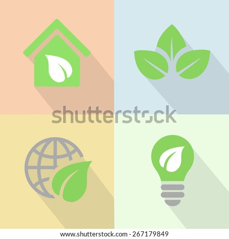 Green energy eco icons poster flat style