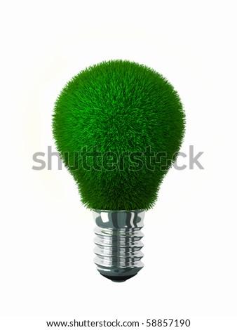 Green energy Green grass on lightbulb surface - stock photo