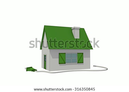 green energy house sketched isolated on white background - stock photo