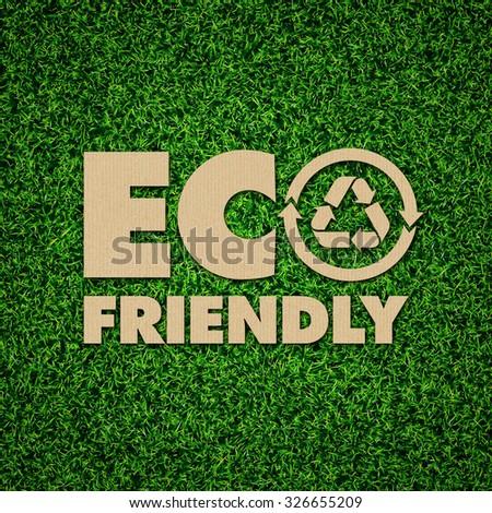Green Energy Iconic Symbols on Green Grass. - stock photo