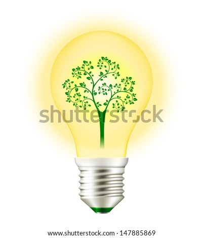 Green Energy Light Bulb with Tree isolated on white. See also vector version