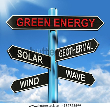 Green Energy Signpost Meaning Solar Wind Geothermal And Wave