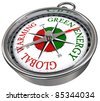 green energy vs global warming concept compass with red and green letters isolated on white background - stock photo