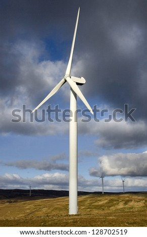 Green Energy. Wind Turbine Dramatic Lighting