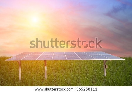 Green energy with solar panels outdoor as alternative power in renewable resource