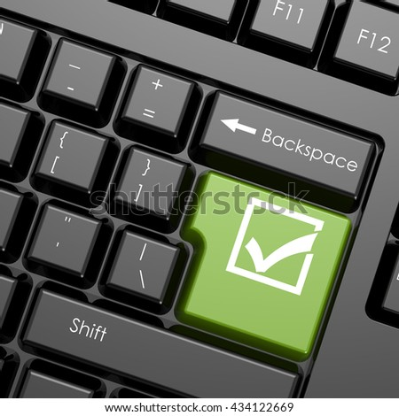 Green enter button with check mark on black keyboard, isolated image, 3D rendering - stock photo