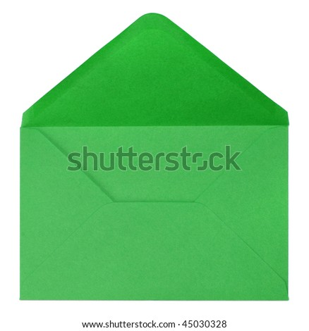 green envelope isolated on white background - stock photo