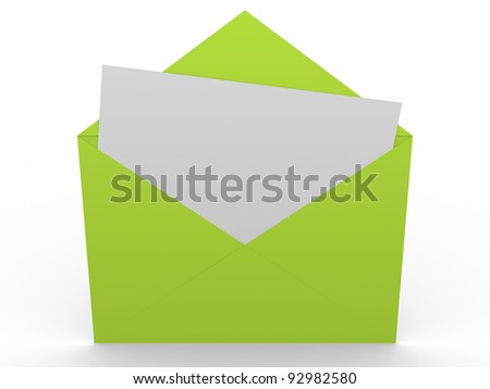 Green envelope with a message in white. Concept of communication - stock photo