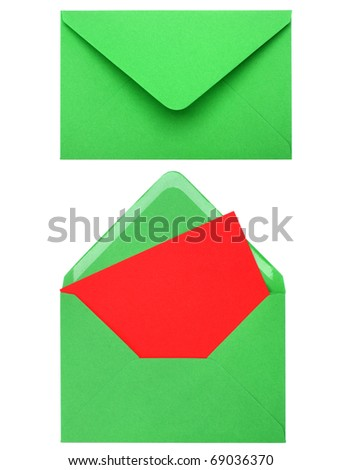 green envelope with card isolated on white background - stock photo