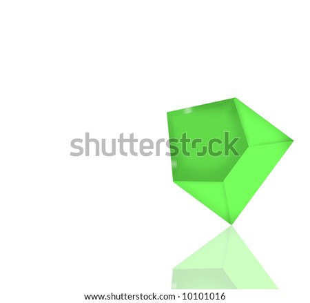 Green envelope with reflection and clipping path.Isolated on white background - stock photo