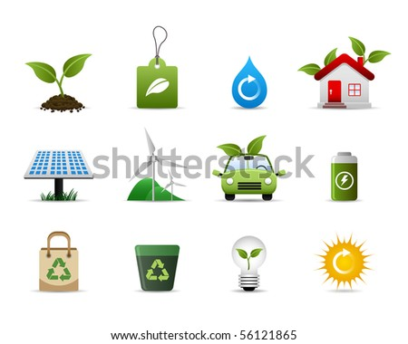 Green Environment Icon Set Raster - stock photo