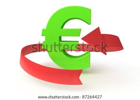 green euro on white background - stock photo