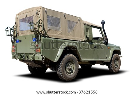 Green European Military Truck Isolated on White