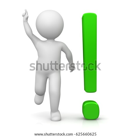 green exclamation mark and people stickman 3d rendering illustration isolated on white background render in high resolution