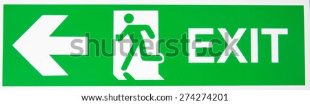 Green exit emergency sign with white lettering - stock photo